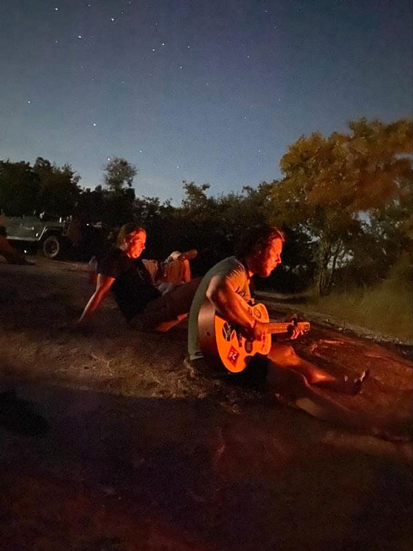 Guitar music and campfire